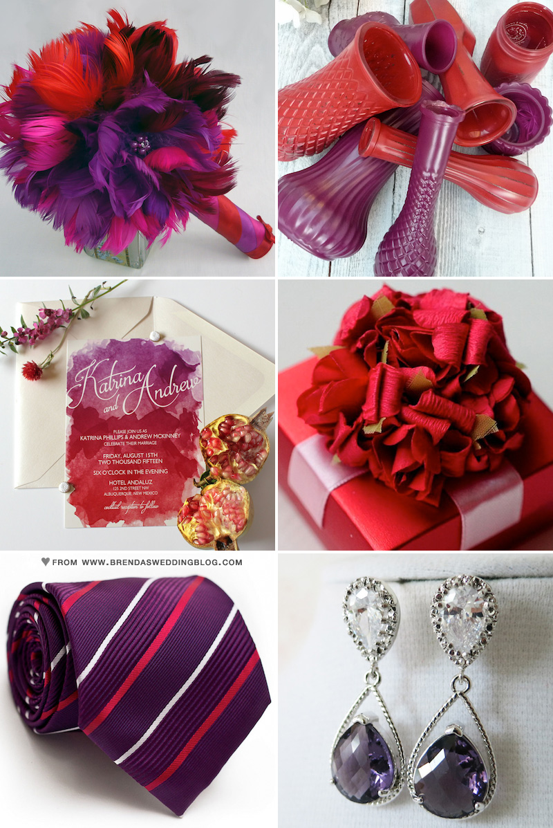 Red and Purple Wedding Inspiration with feathers, watercolor and glass vases