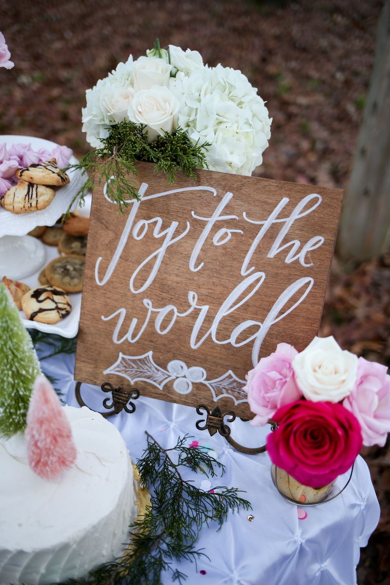 Holiday Cookie Exchange to Celebrate Your Bridesmaids / florals by EightTreeStreet / sign by Allison Dee Calligraphy / photo by Debbie Ringle Photography