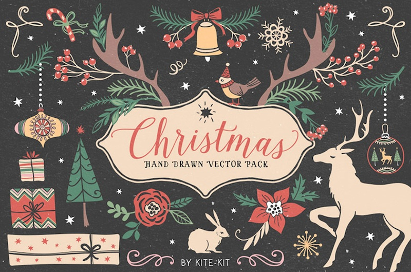 Design Your Own Holiday Cards + Invitations with this Font + Graphic Winter Bundle for just $29