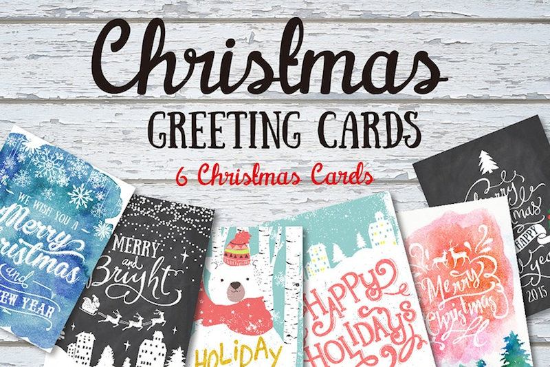 Design Your Own Christmas + Holiday Cards with this Font + Graphic Winter Bundle for just $29