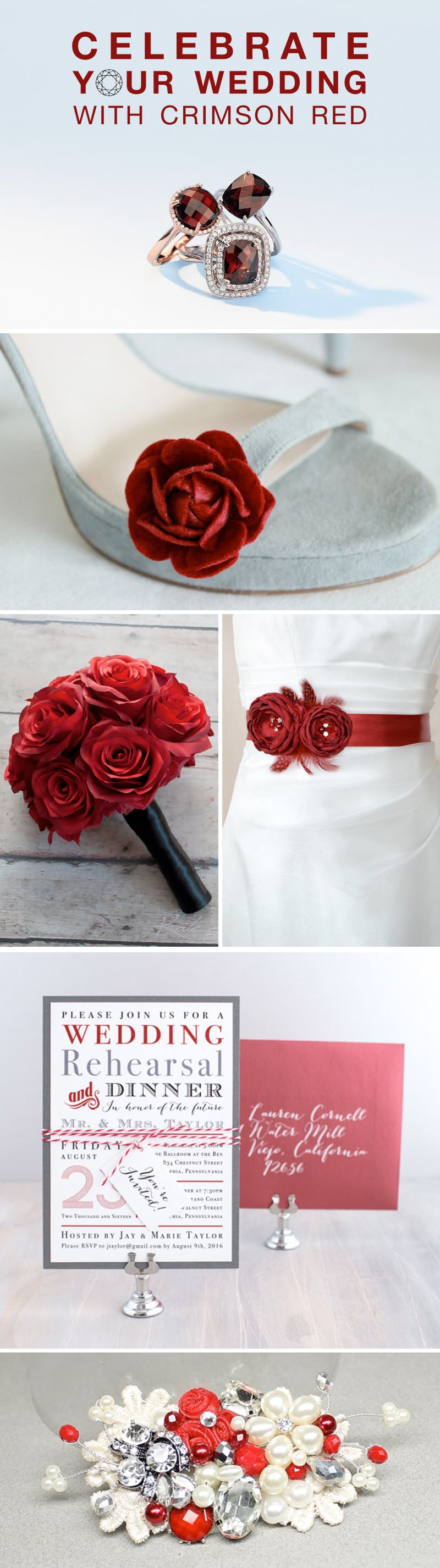 Crimson Red Wedding Inspiration Board with Touches of Garnet Gems