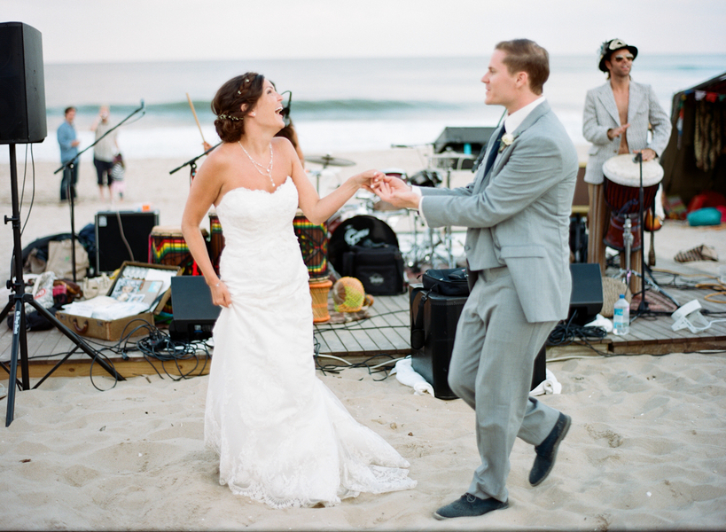 Fun Vintage Beach Wedding where the beach is the dance floor / photo by Photography by Verdi