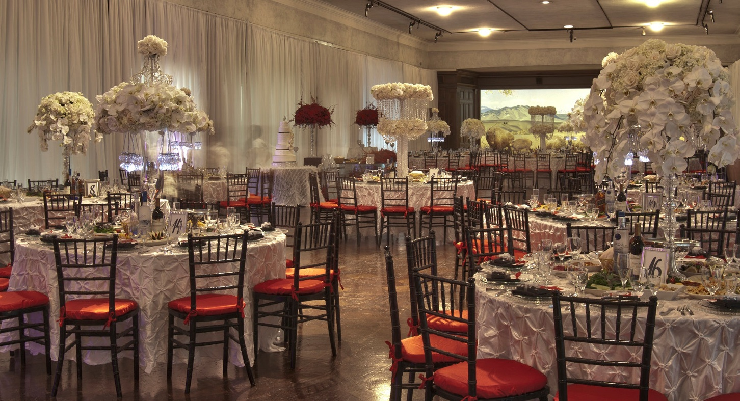 Wedding Reception Idea : party in a museum with an exhibit as the backdrop / from Anoush Banquet Halls & Catering in CA