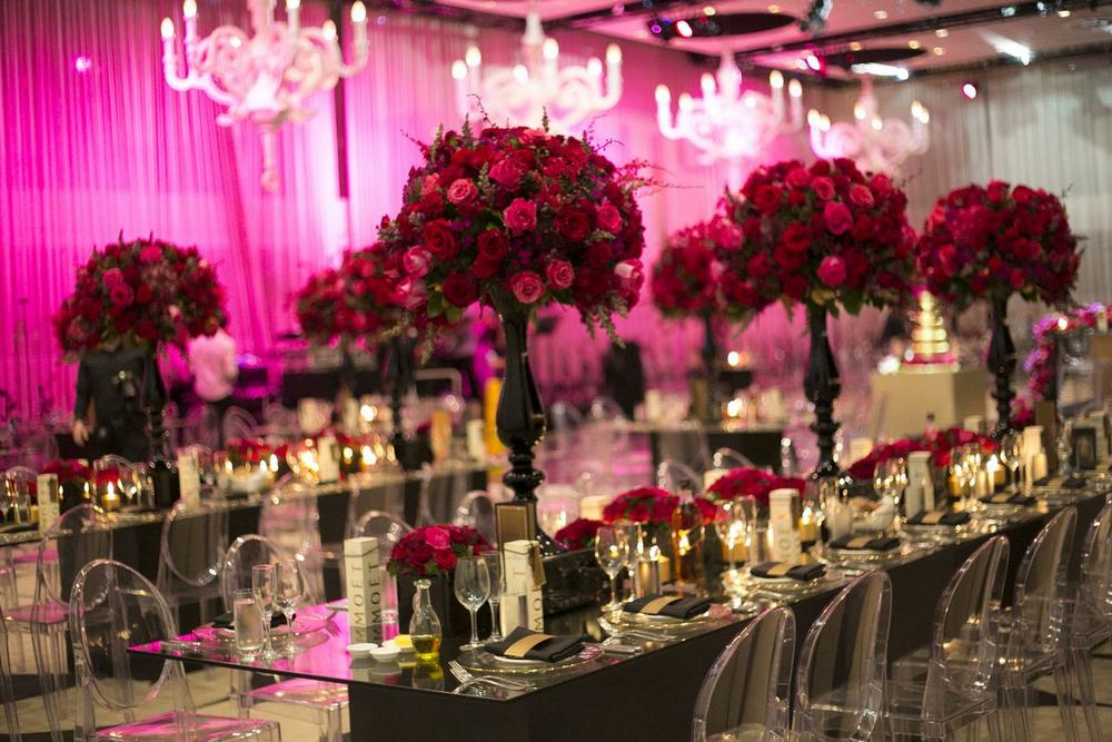 Glamorous Red and Gold Wedding Floral Centerpieces / photo by Blumenthal Photography / florals by Sydney Wedding Flowers