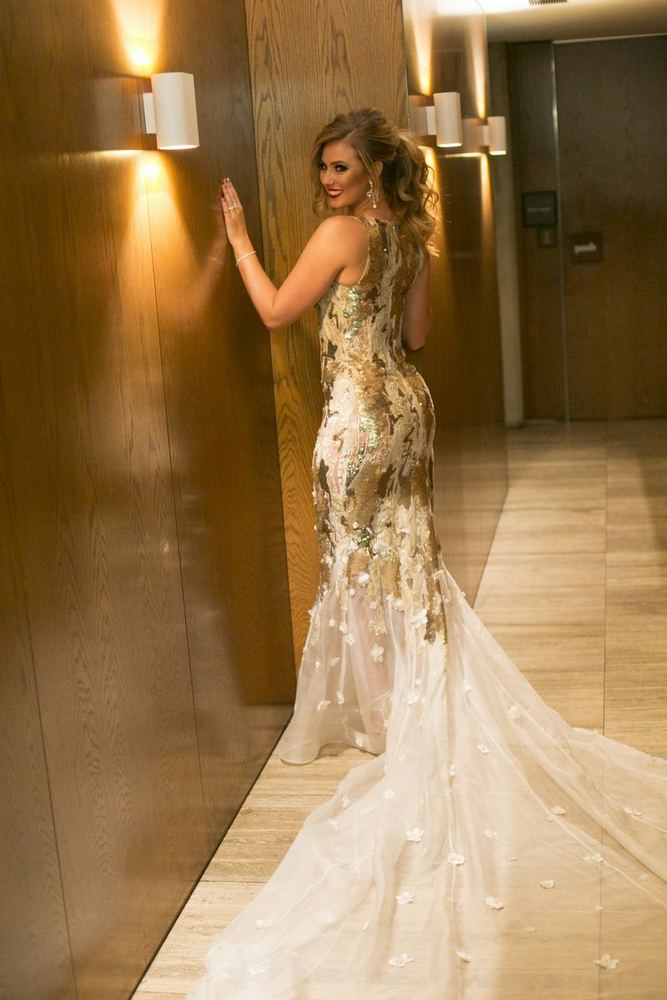 Bride in her Glamorous Gold Wedding Dress / photo by Blumenthal Photography