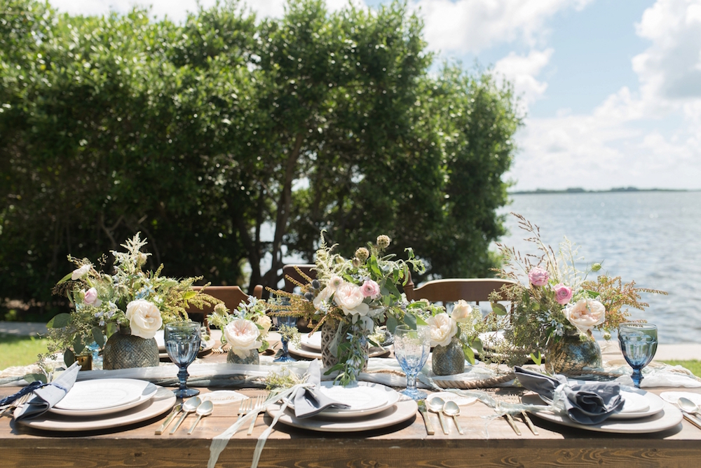 Coastal Chic Wedding Inspiration / dresses by Dessy /photo by Caroline & Evan Photography / flowers by FH Weddings & Events