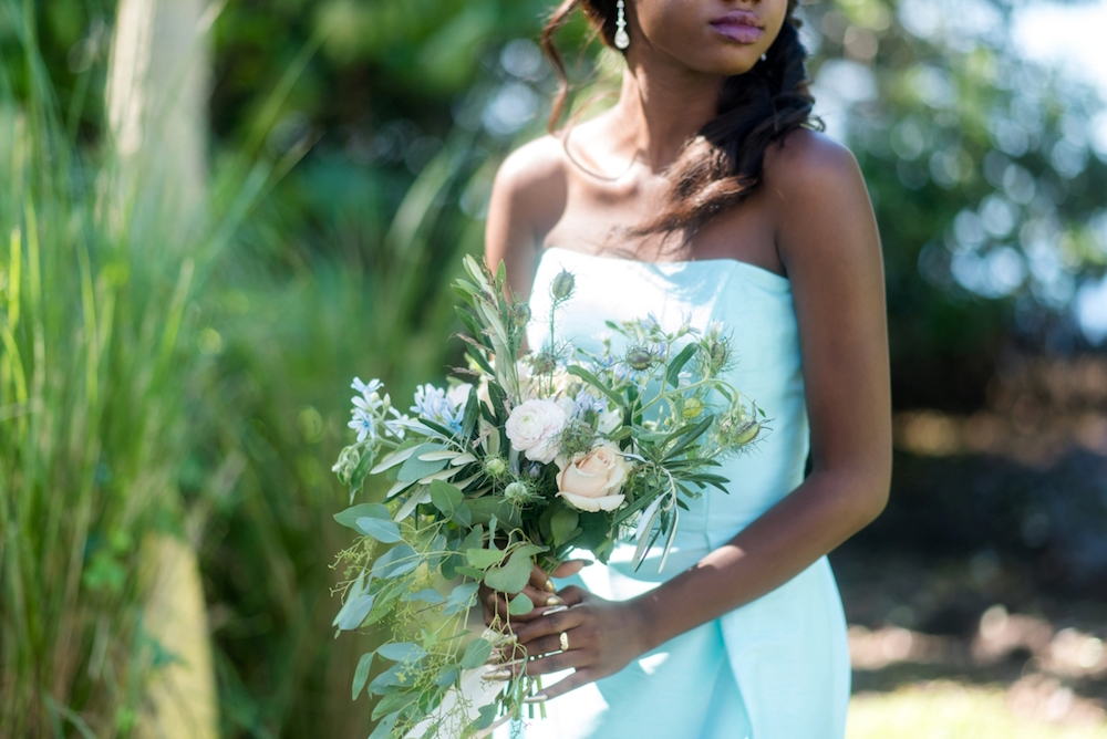 Coastal Chic Wedding Inspiration / dresses by Dessy / photo by Caroline & Evan Photography / flowers by FH Weddings & Events