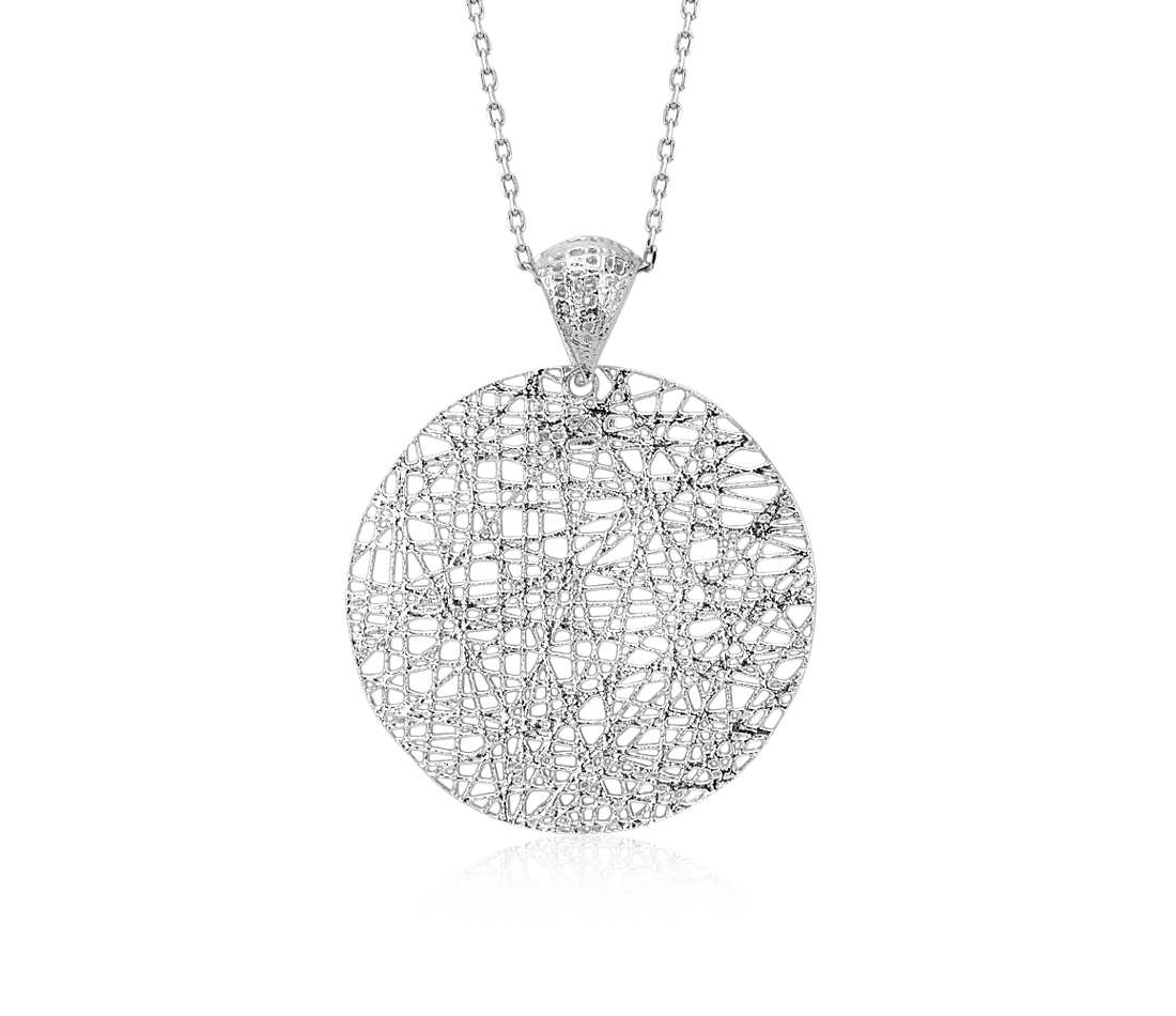 "Long Woven Disc Pendant in Sterling Silver (30"")"