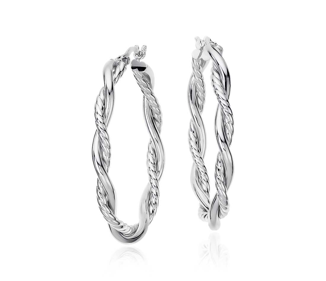 Intertwined Oval Hoop Earrings in Sterling Silver