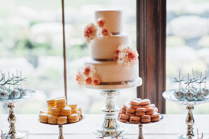 Pretty Pastel Pink Wedding Dessert Table / photo by Pure Aperture Photography / Yummies by Cake Box