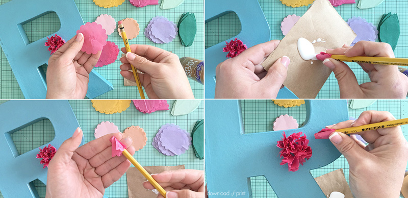 DIY Decoration with Botanical Letters for Weddings and Parties - make the tissue paper flowers
