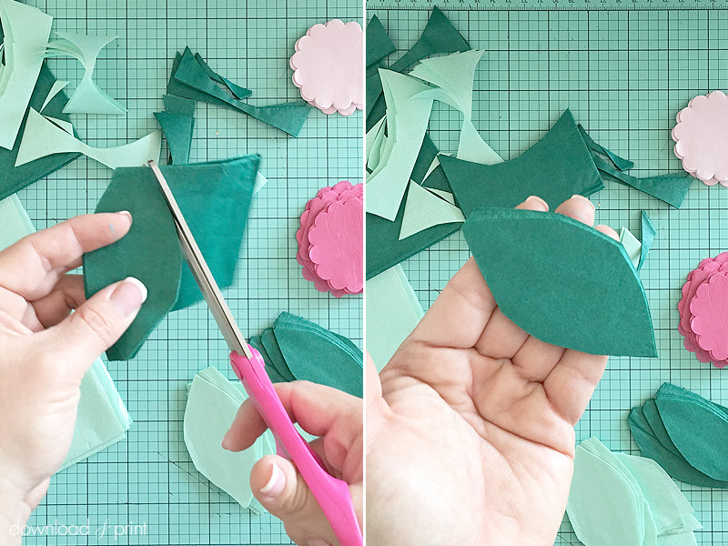DIY Decoration with Botanical Letters for Weddings and Parties - cut the tissue paper leaves