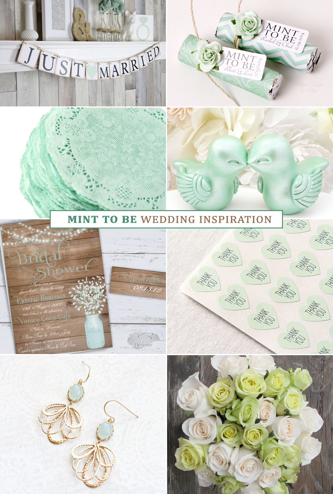Mint to Be Wedding Inspiration Board - featuring handmade artists