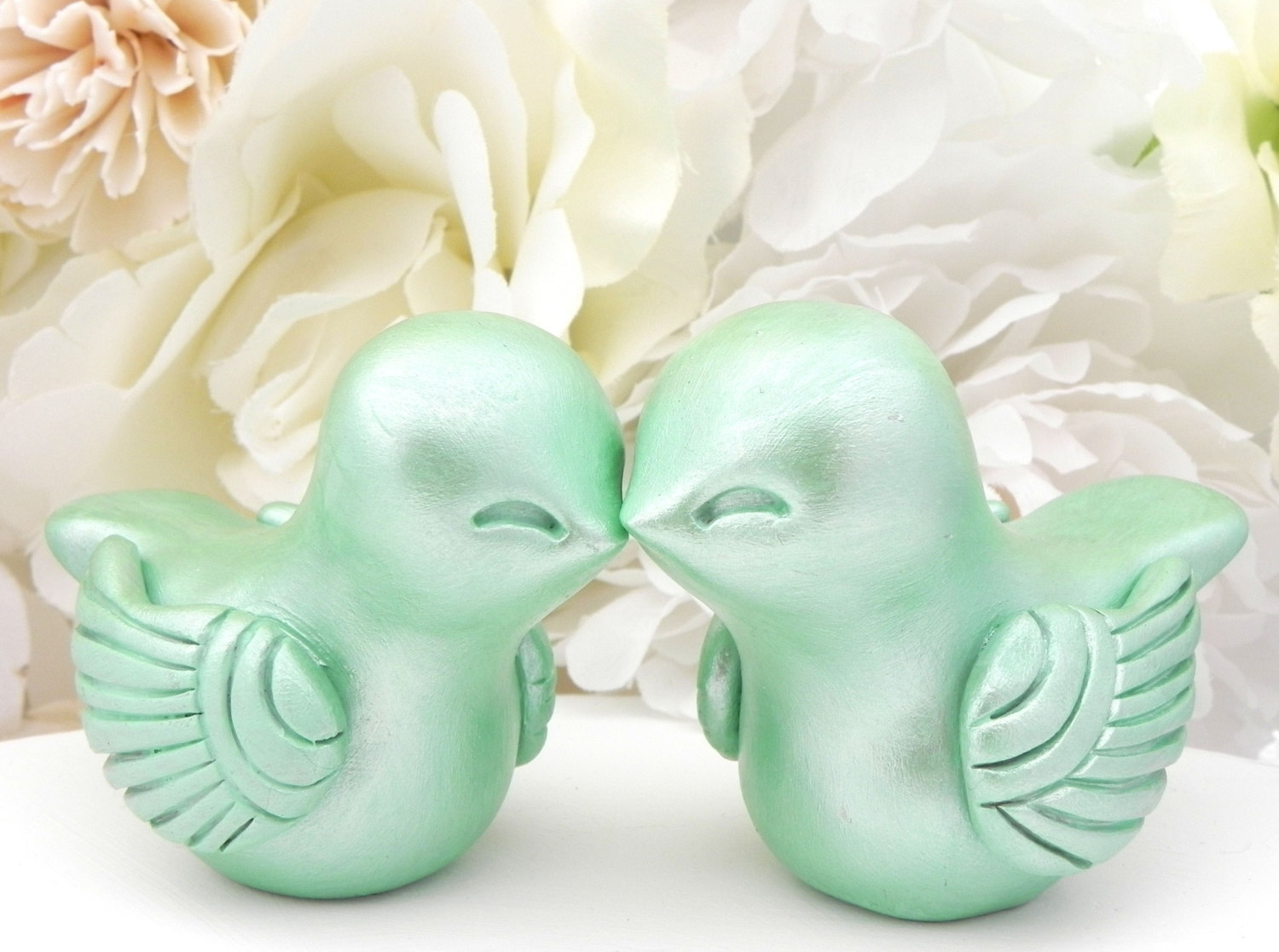 Mint Green Love Bird Wedding Cake Toppers