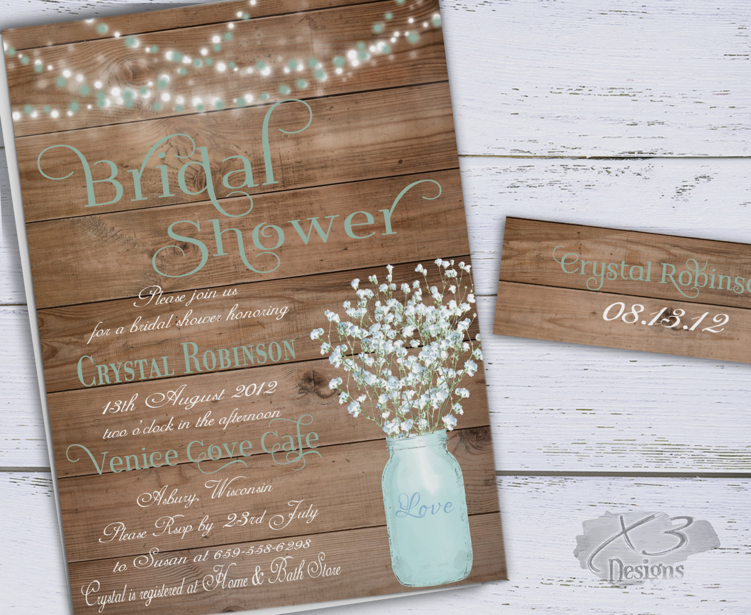 DIY Rustic Bridal Shower Invitation with Baby's Breath in Mason Jar