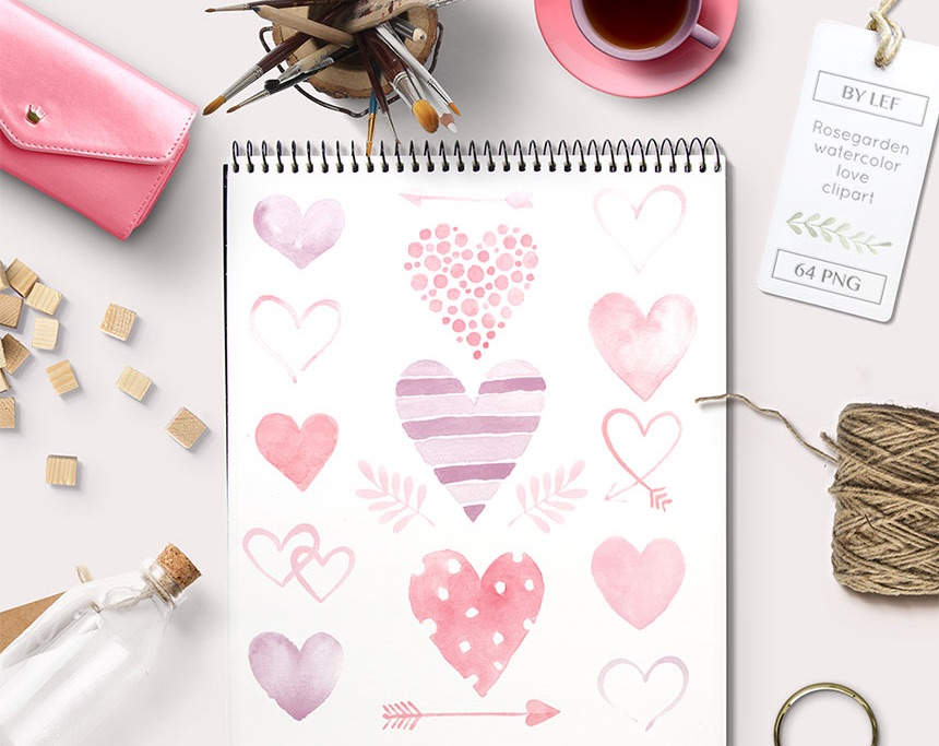 Watercolor Heart Illustrations for DIY Wedding Invitations, Menus, Save the Dates and more