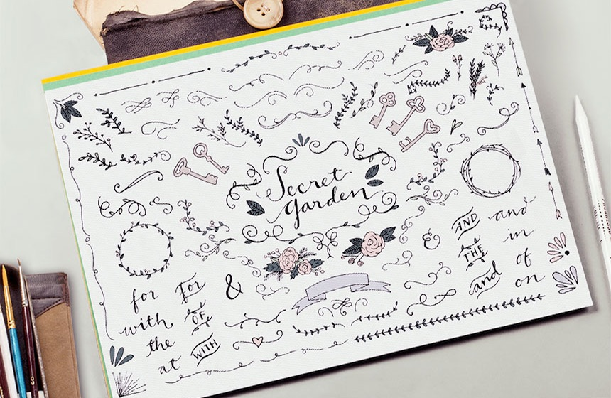 Secret Garden Illustrations for DIY Wedding Invitations, Menus, Save the Dates and more