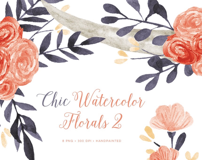 Chic Floral Watercolor Illustrations for DIY Wedding Invitations, Menus, Save the Dates and more