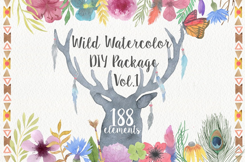 Wild Watercolor Illustrations for DIY Wedding Invitations, Menus, Save the Dates and more