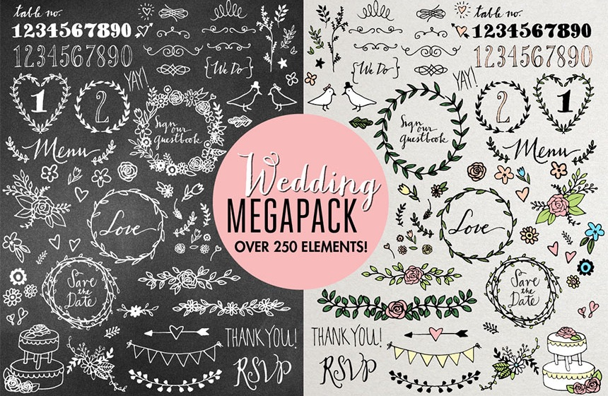 Wedding Illustration MegaPack for DIY Wedding Invitations, Menus, Save the Dates and more