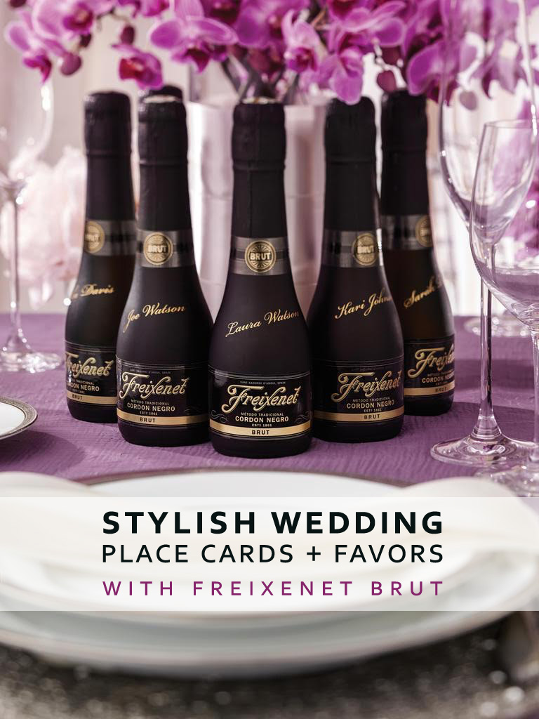 Turn Bottles of Feixenet Brut or Wine into Stylish Wedding Place Cards and Favors with Personalizing each one with the guests name in gold pen