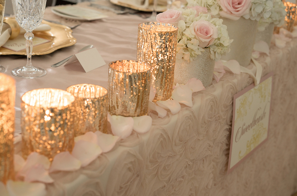 Pretty Gold Candle Holders from the Sweetheart Table / Romantic Wedding Inspired Styled Shoot