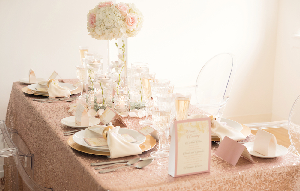 Romantic Wedding Inspiration with Blush Sequins + a Dramatic Orchid Centerpiece