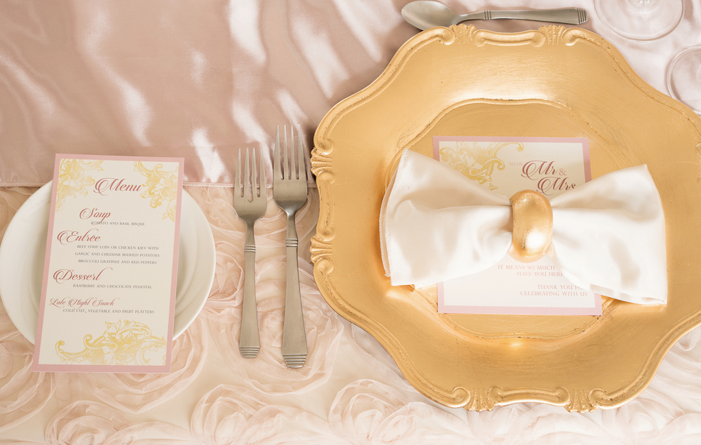 Beautiful Place Setting with Gold Charger from a Romantic Wedding Inspired Styled Shoot