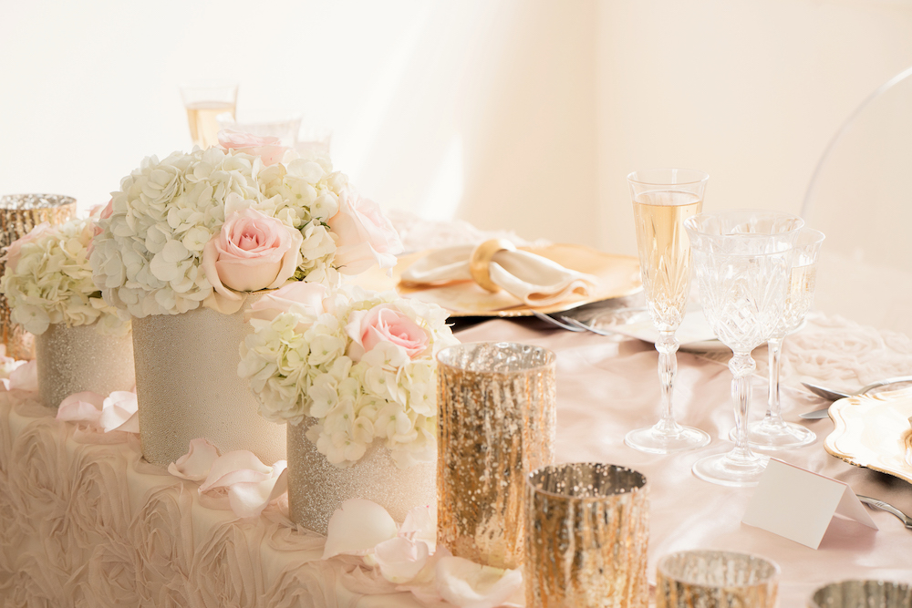 Gorgeous Sparkly Candle Holders + Flowers from the Sweetheart Table / Romantic Wedding Inspired Styled Shoot