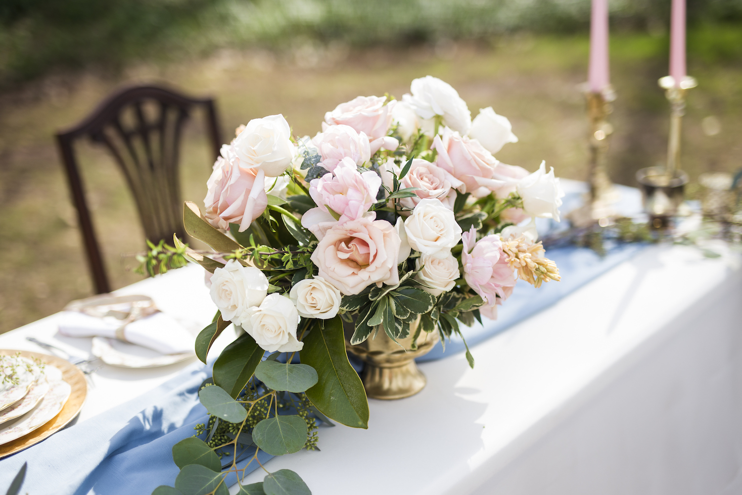 Pretty Pink and White Rose Wedding Centerpiece in a Gold Compote / photo by Kevyn Dixon Photo