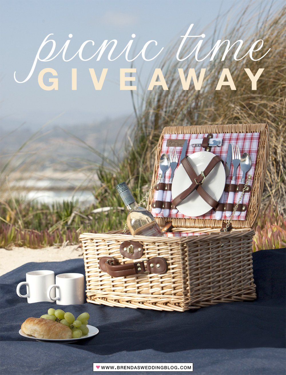 It's a picnic basket and blanket giveaway to celebrate Wedding Season on www.BrendasWeddingBlog.com