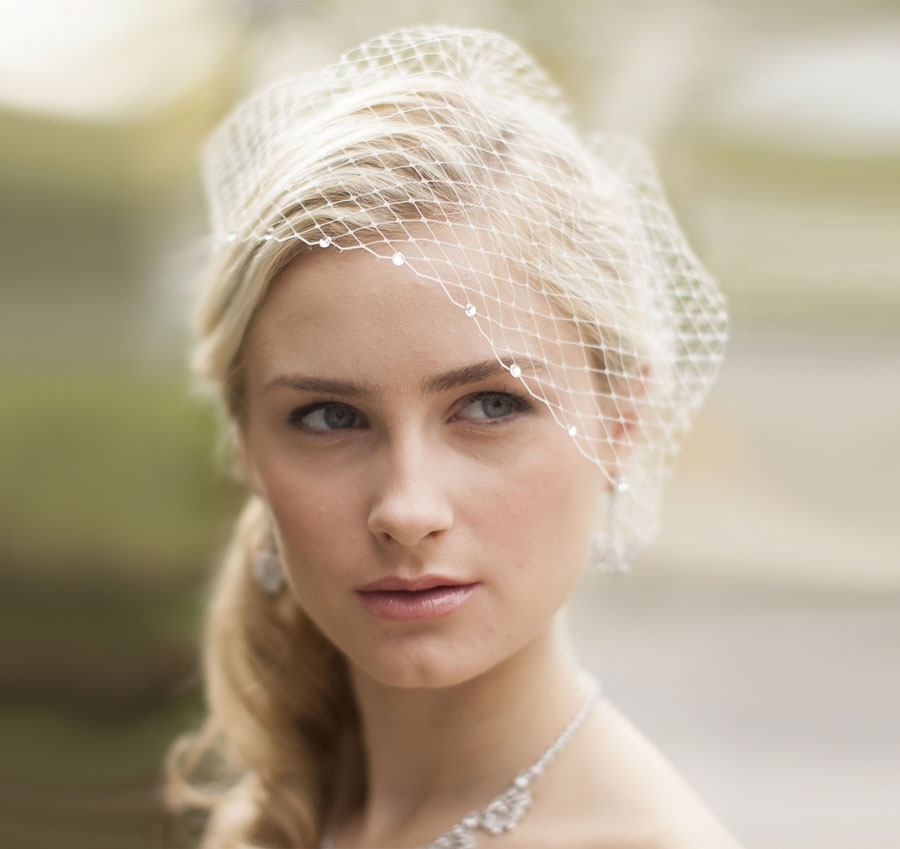 Swarovski Crystals French Net Birdcage Visor Bridal Veil