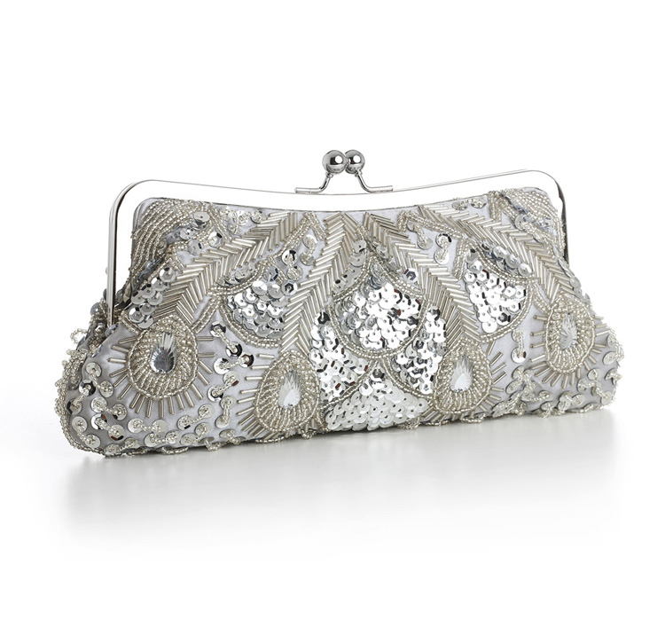 Silver Evening or Bridal Bag with Beads, Sequins and Gems