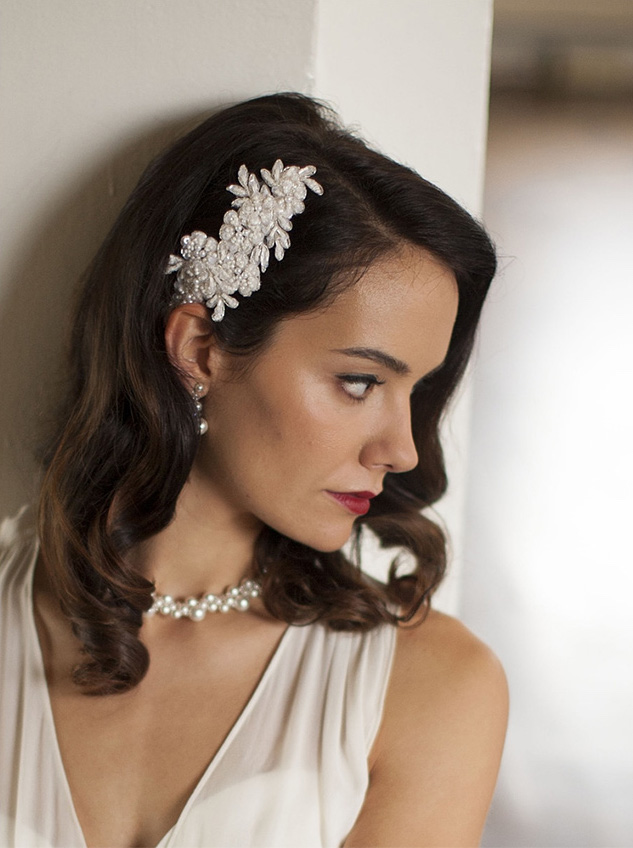 Beaded Lace Applique Wedding Comb
