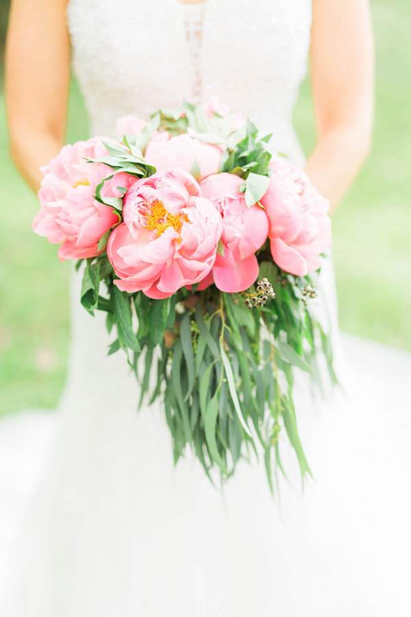 Stunning Pink Peony Bridal Bouquet from a Southern Wedding / photo by Hannah Ruth Photography LLC