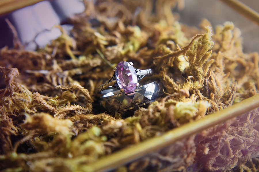 Gorgeous Purple Diamond Engagement Rings from an Eco-Friendly Styled Wedding Elopement in the California Mountains / photo by Autumn Noel Photography