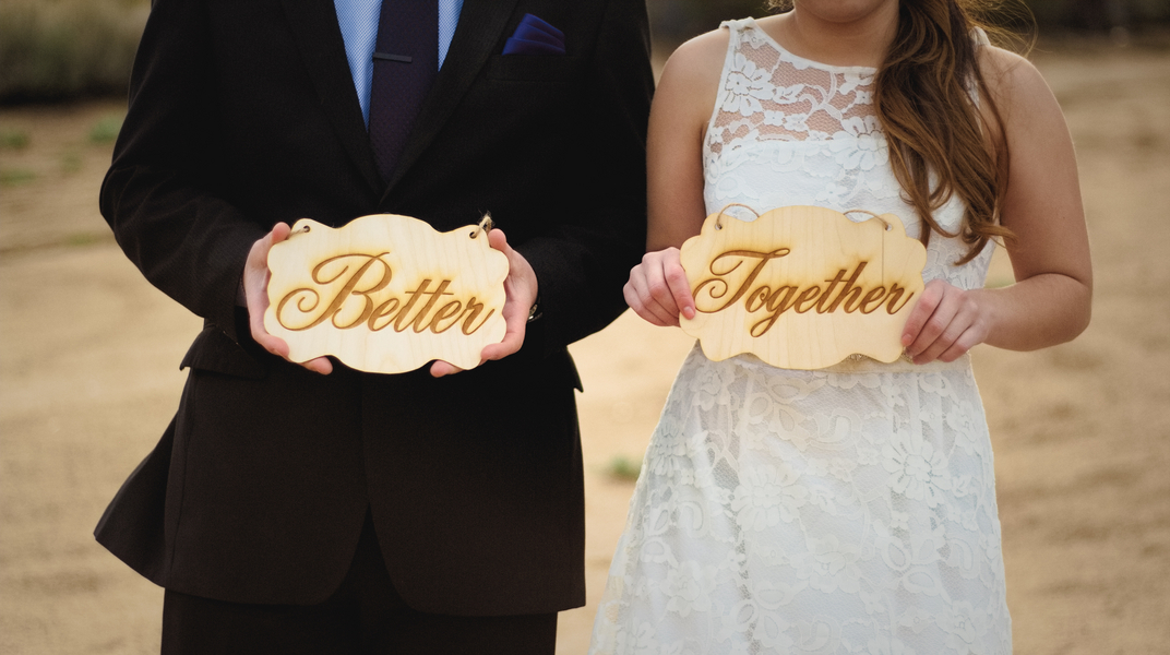 Better Together Handmade Wooden Signs from an Eco-Friendly Styled Wedding Elopement in the California Mountains / photo by Autumn Noel Photography