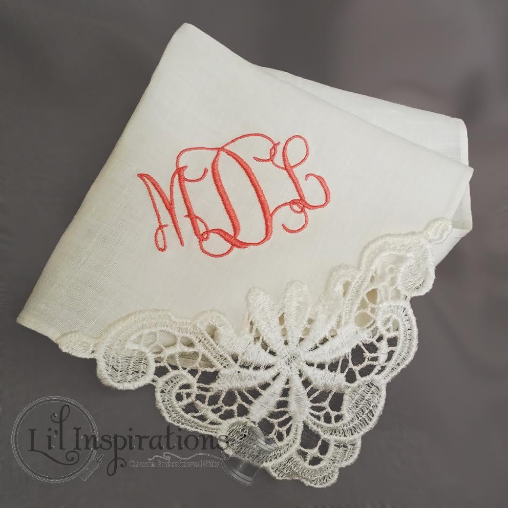 Personalized Wedding Hankie with Monogram / from Li'l Inspirations