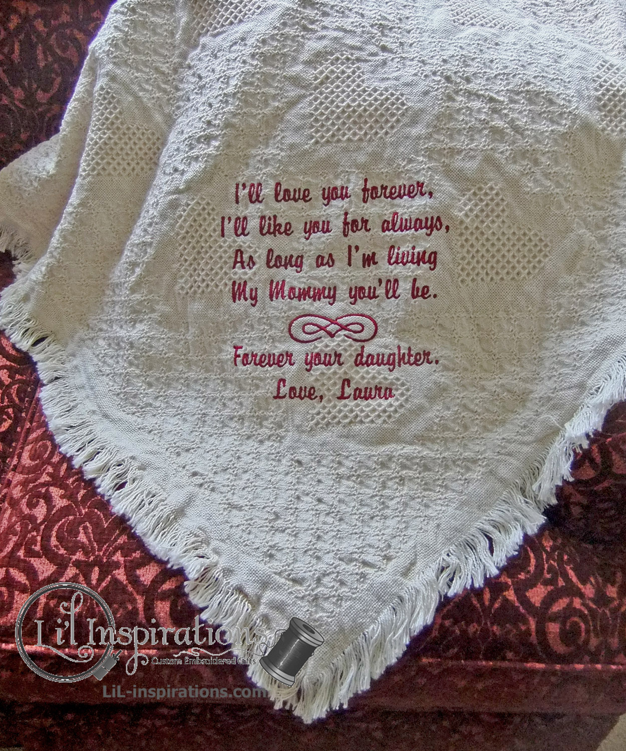 Personalized Wedding Blanket for Mother of the Bride / from Li'l Inspirations