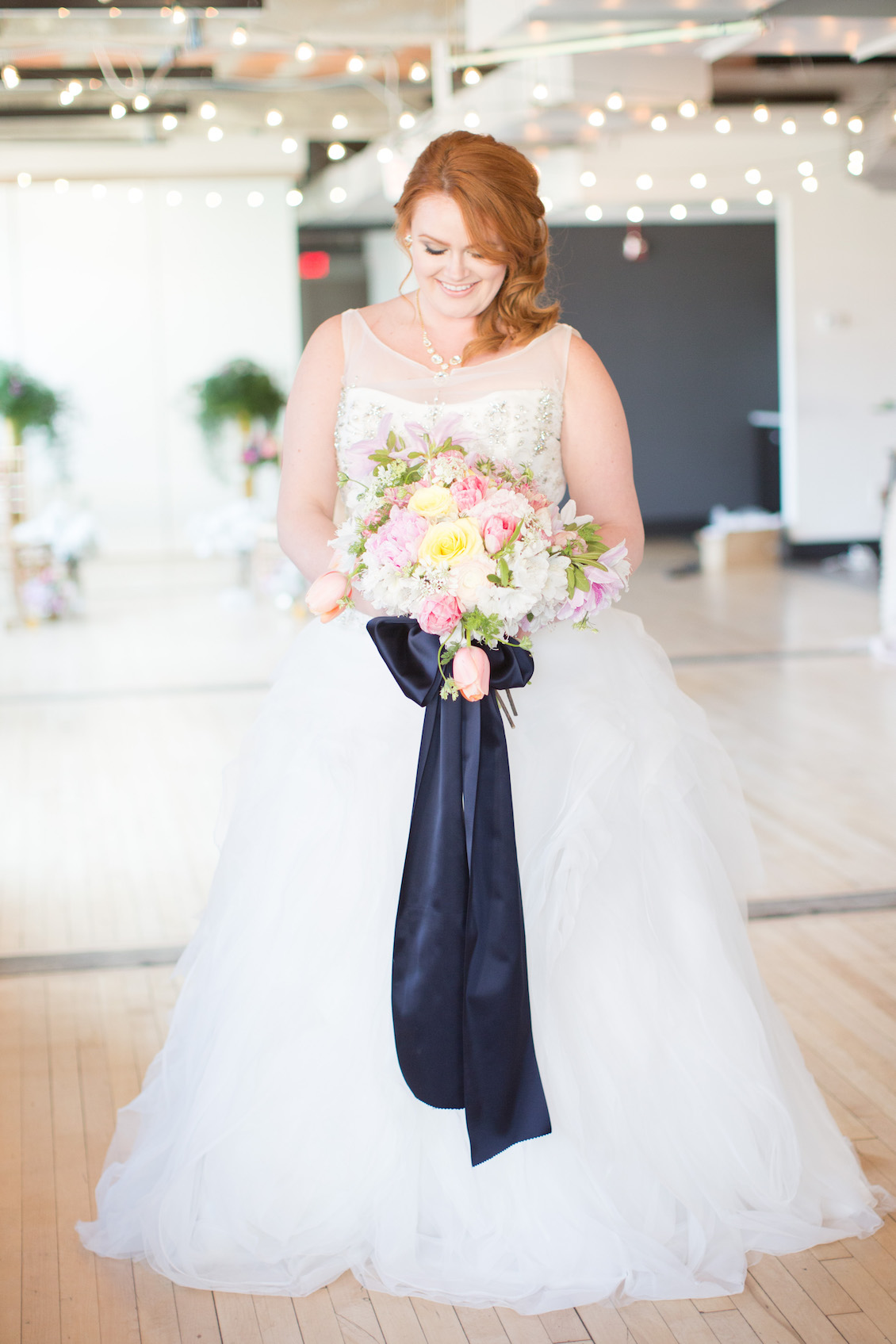 Spectacular Bridal Bouquet with Pops of Color and Long Cascading French Ribbon / Florals by EightTreeStreet / Photography by Amy Nicole
