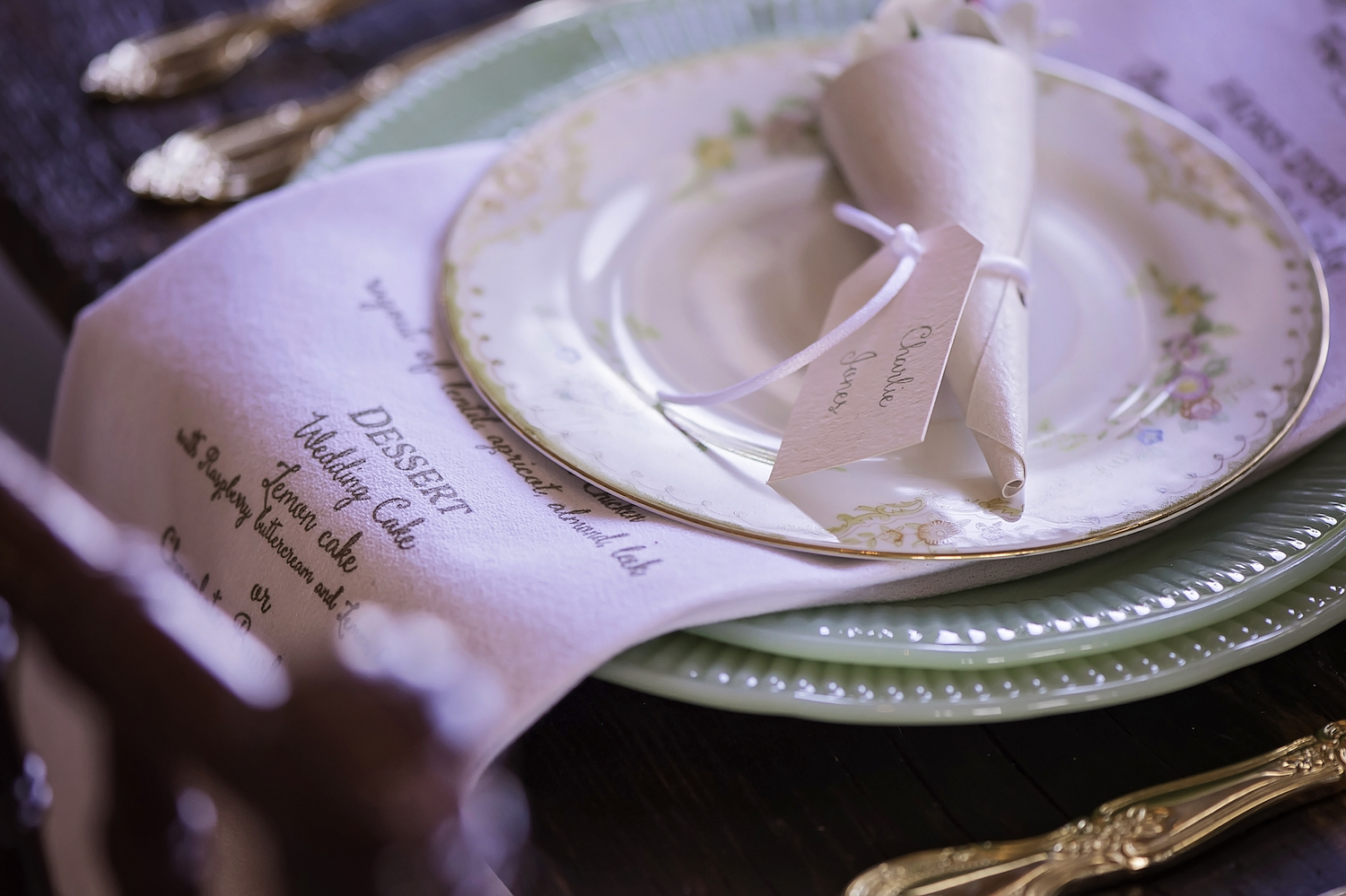 Hand Printed Tea Towel Wedding Menu for Place Settings - layered between dishes / photo by Maria Nicole Photography
