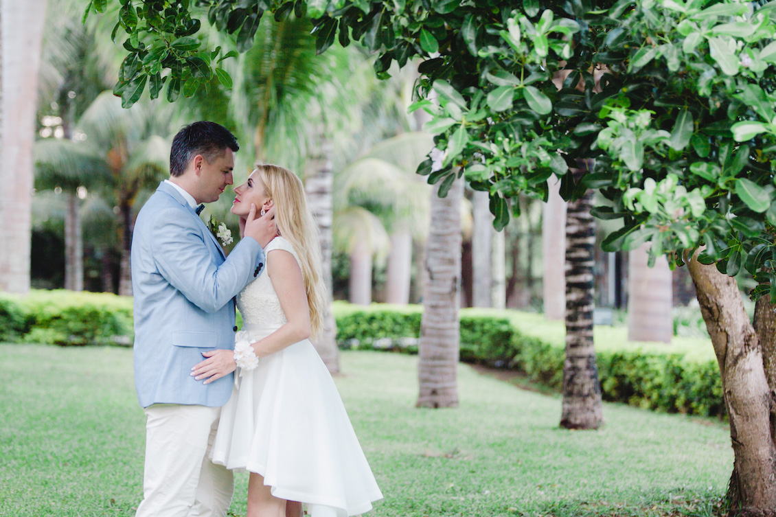 The Happy Couple from an Intimate Destination Wedding on a Tropical Island / photo by Agape Productions