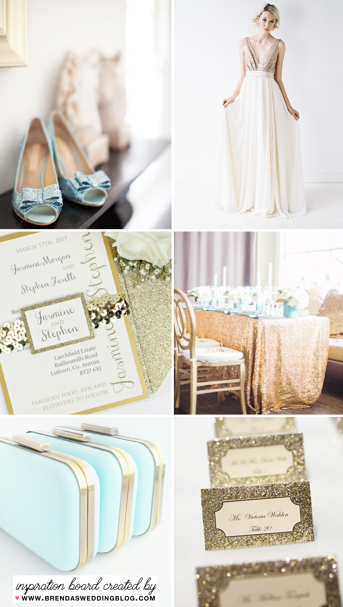 Glittery Gold and Blue Wedding Inspiration Board for a Big Day that Sparkles