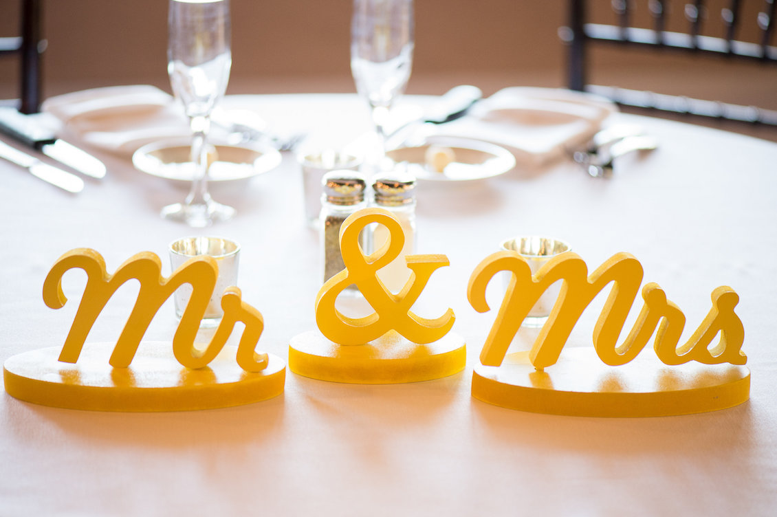 Bright Yellow Mr and Mrs Wedding Signs for Table Decor / Séverine Photography