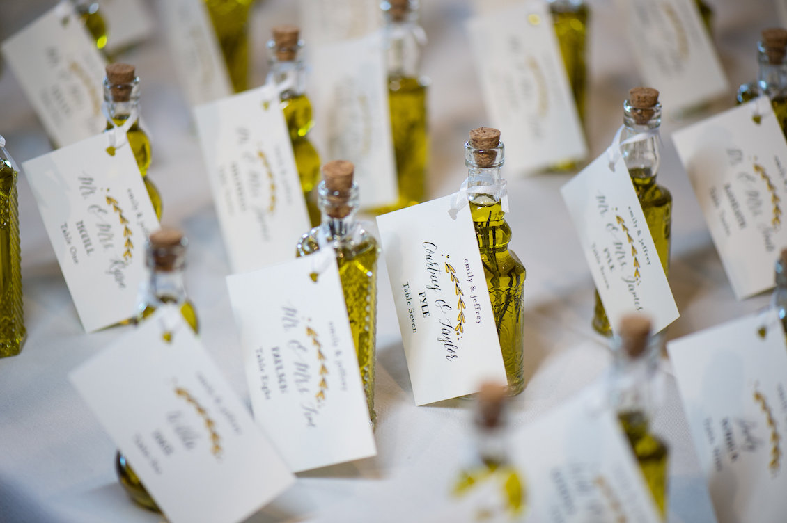 Olive Oil Wedding Favors from a Florida Wedding in the Summer / Séverine Photography