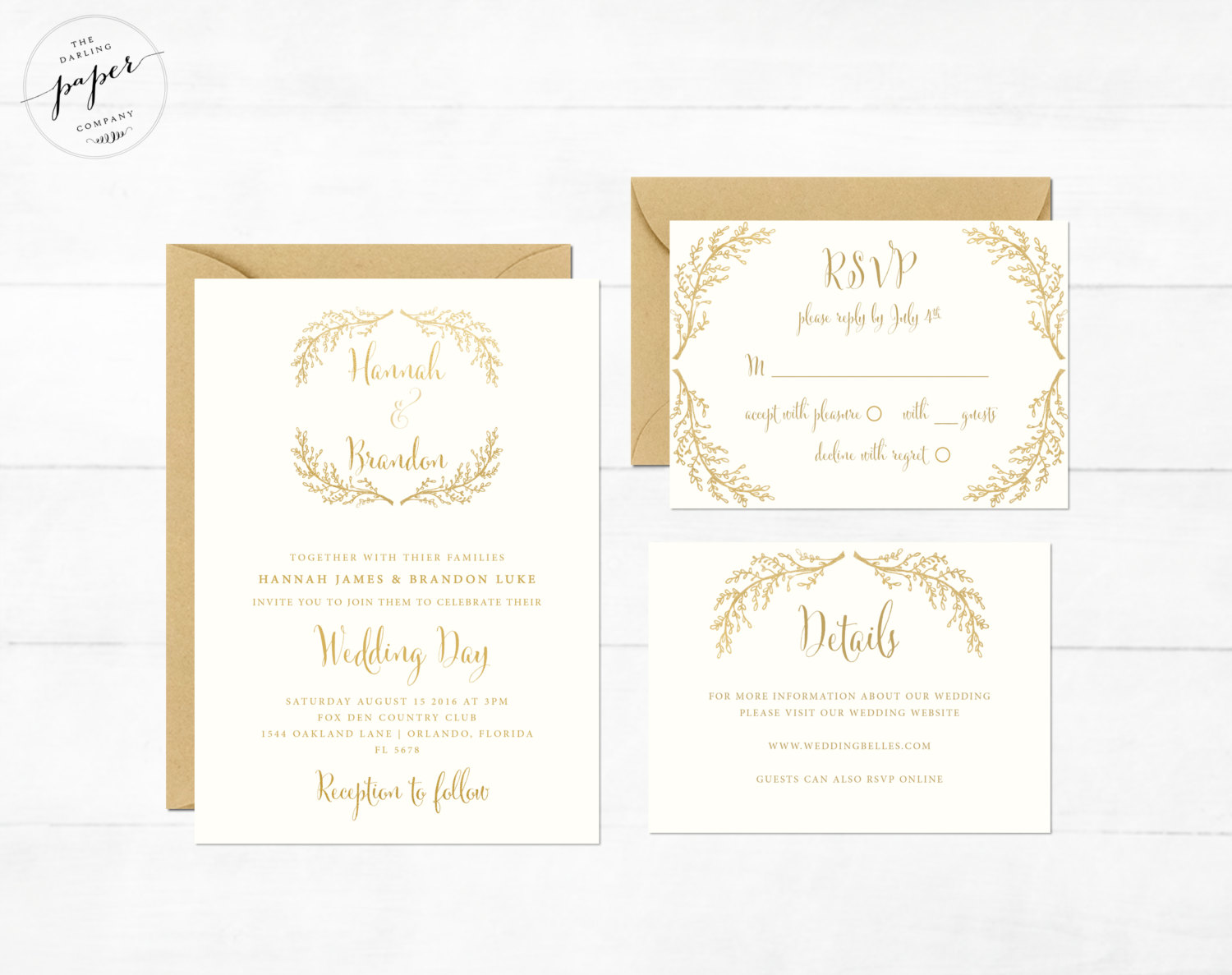 Gold Foil Wedding Invitations / from 14 Ways Real Brides Plan to Sparkle on their Wedding Day