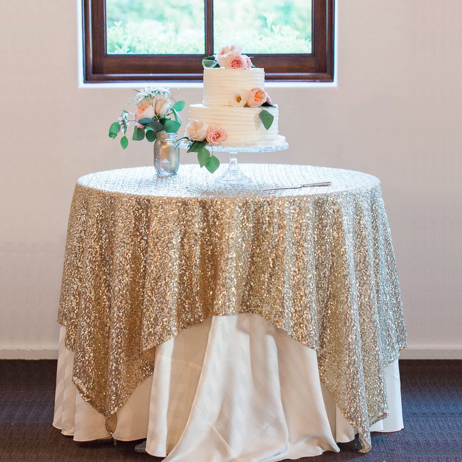 Gold Sequined Tablecloth for the Wedding Cake Display / Dessert Table / from 14 Ways Real Brides Plan to Sparkle on their Wedding Day