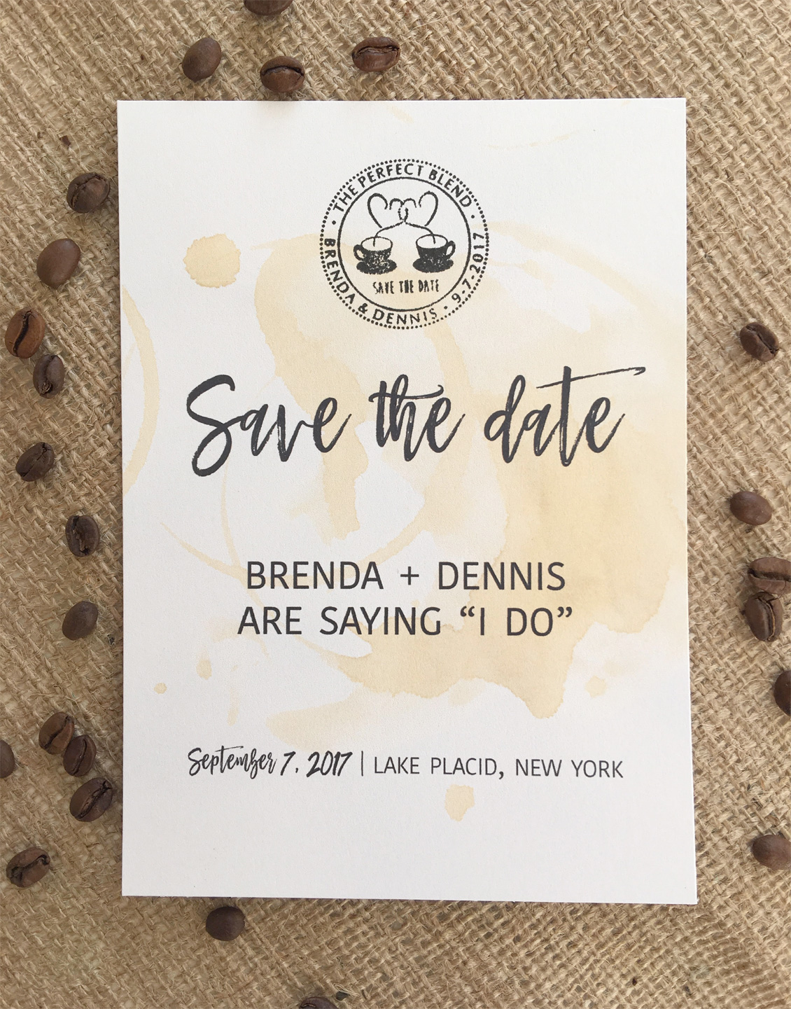 "Free Save the Date Printable Template for Coffee Themed ""The Perfect Blend"" - click to download your free template"