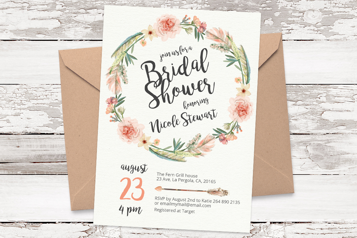 Floral Wreath Bridal Shower Invitation | Watercolor Florals Wedding Invitation Template | DIY Wedding Invitation Printable
