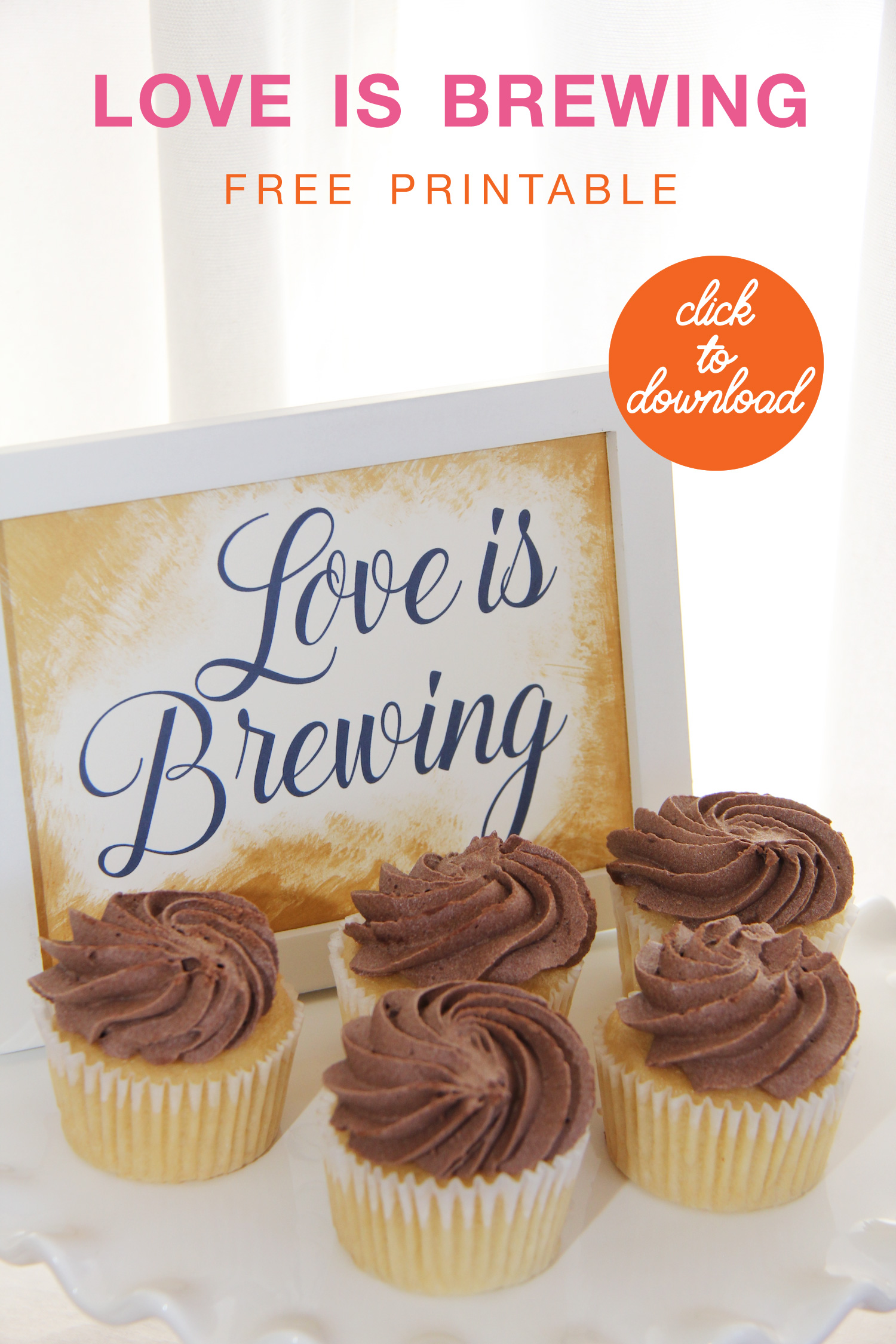 Click to Download your Free Love is Brewing Printable Sign | Downloadable Love is Brewing Sign | Love is Brewing Sign for DIY Coffee Bars at Wedding Receptions and Bridal Showers | as seen on www.BrendasWeddingBlog.com